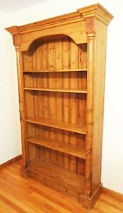 """c1860 Antique English Pine 83"""" Tall Bookcase Cabinet w4 Shelves Crown Molding"""