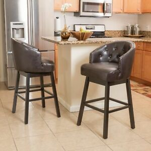 Westman 30-Inch Brown Leather Swivel Backed Barstool (Set of 2)