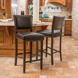 William 31-Inch Bonded Leather Backed Barstool (Set of 2)