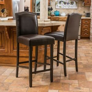 Auburn 30-Inch Brown Leather Backed Barstool (Set of 2)