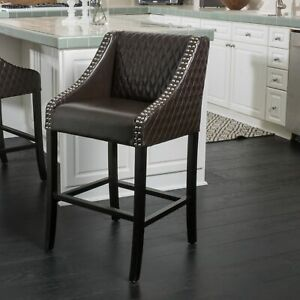 Larue Brown Leather Backed Barstool
