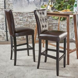 Padma Tufted Back Brown Leather 30-Inch Barstools (Set of 2)