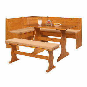 SOLID WOOD Kitchen Nook Corner Dining Breakfast Table Bench Cushion Set