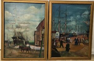 """Antique 1938 Seaports & Ships Oil Paintings Signed Kirby ~ 18.5"""" X 14"""" ~ NICE!!"""