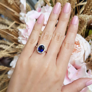 3ct Oval Cut Blue Sapphire Engagement Ring 14k White Gold Finish Princess Diana