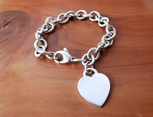 TIFFANY & CO. 925 Sterling Silver Blank Engravable Heart Tag Chain Bracelet 7.5