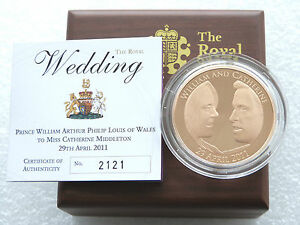 2011 Royal Mint Royal Wedding Kate William £5 Five Pound Gold Proof Coin Box Coa