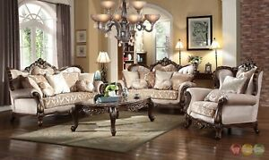 Luxury Winged Back Formal 3pc Sofa Set With Carved Wood Frame & Accent Pillows
