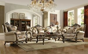 Opulent Traditional Luxury Living Room 3pc Sofa Set Carved Wood Trim