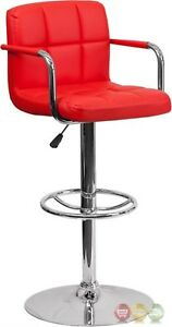 Contemporary Red Quilted Vinyl Adjustable Height Barstool W/ Arms