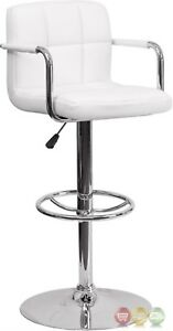 Contemporary White Quilted Vinyl Adjustable Height Barstool W/ Chrome Base