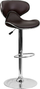 Contemporary Cozy Mid-back Brown Vinyl Adjustable Height Barstool W Chrome Base