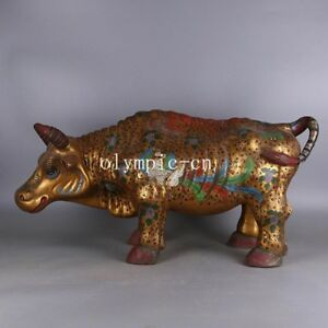 29''tri-coloured glazed pottery of the Tang Dynasty Gold Painting bull buffalo