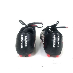 BoysGirl Under Armour Black red Soccer Cleats Size 1.5 Y kids white hot pink