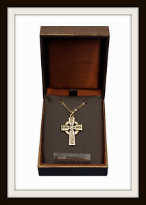 ST. PETROC CELTIC CROSS ~ BRONZE PENDANT NECKLACE ~ FREE P&P ~ MADE IN UK