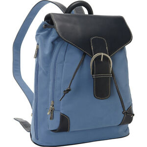 Bellino Leather Travel Backpack - Atlantic Blue Backpack Handbag NEW