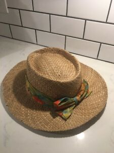 Panama Jack Since. 1974 Tropical Straw Bow Palm Leaf Tree Beach Gardening Hat