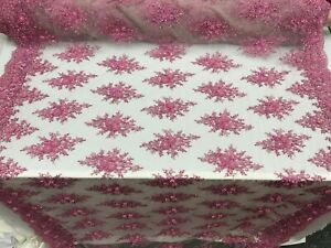 Pink Design shop beaded French Embroidered Handmade Mesh Lace Fabric By the yard