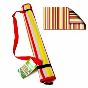 Beach Outdoor Mat RED Stripe Rug Camping Straw Sand Sandless Blanket Picnic Reve
