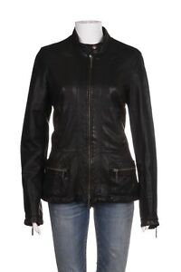 VINCE Women's Leather Jacket Large Black Front Zip Mock Collar Coat Biker Moto