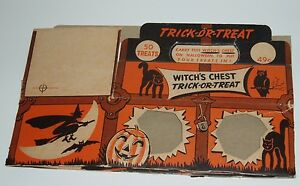 Vintage 1950's Trick or Treat Halloween Candy Box witch Ghost bat Thomas Weiner