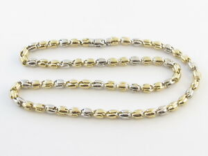 14k Yellow And White Gold Men's Bullet link Chain Necklace  24