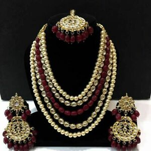 Exclusive Red Bridal Set Long Choker Kundan Necklace Earring Mang Tikka wh76214
