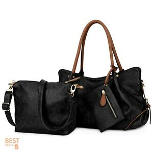 Handbags Clearance Ladies Purses Over The Shoulder Bag Set Women 3pc PU Leather