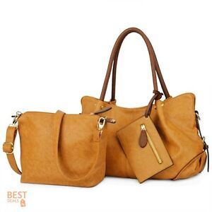 Handbags Clearance Ladies Purses Over The Shoulder Bag Set Women PU Leather 3pc