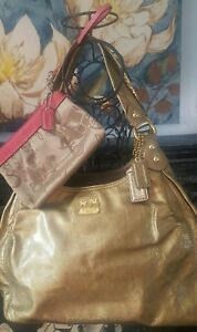COACH 14331 MADISON GOLD METALLIC PATENT LEATHER MAGGIE Handbag