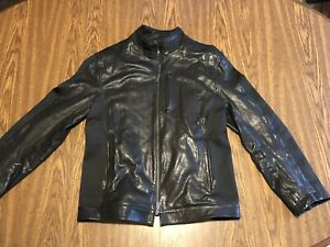ARMANI COLLEZIONI BLACK 100% LAMBSKIN LEATHER JACKET sz 44 $1000 Euc