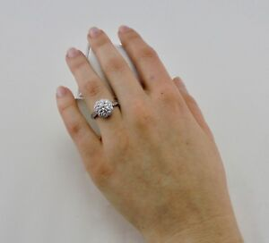 Handcrafted 1.52ctw Cluster Diamond 18k White Gold Engagement Dress Ring*