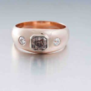 1.83 tcw Fancy Color Diamond 3-Stone Ring Size 11.5 GIA 14K Rose Gold DK Design