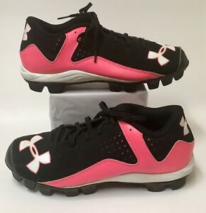 Under Armour 6Y Girls Youth Cleats Soccer Baseball Softball Shoes Black Pink EUC