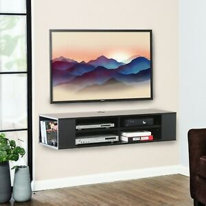 FITUEYES Wall Mounted Media ConsoleFloating TV Stand Component Shelf,Black