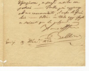 Vincenzo BELLINI  Autograph letter signed Bellini to his friend and fellow