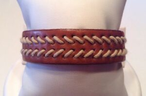 Vintage Signed FOSSIL Men's Tan Leather Cuff Bracelet Authentic .75 Inch Wide