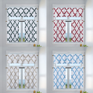 3PC Set Diamond Design Blackout Window Curtains Tier Valance Kitchen 7LO diamond