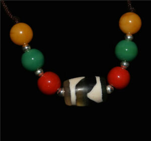 Tibetan genuine water wave old dzi bead amulet necklace pendant ancient real