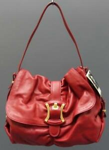 B. Makowsky Seattle Large Claret Red Soft Leather Flap Shoulder Handbag Purse