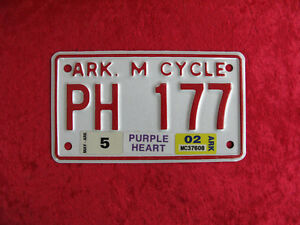 PURPLE HEART - MOTORCYCLE LICENSE PLATE COMBAT WOUNDED ARKANSAS 1975 VETERAN AR