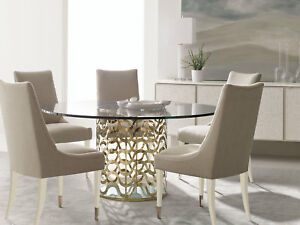 VENICE 7 piece Modern Gold Dining Room Set - Round Glass Top Table