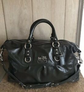 Coach  Madison Sabrina Graphite Patent Large Leather Satchel Bag Very Rare 14179