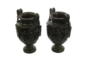19th century Grand Tour Monumental French Neoclassical Bronze Urns - a Pair