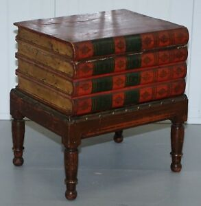 VERY RARE VICTORIAN CIRCA 1880 SIDE TABLE SIZE COMMODE STACK OF SCHOLARS BOOKS