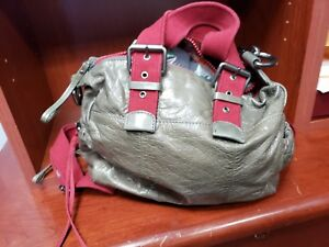 Handbags PURSE FRANCHESKA BIASIA soft real leather GREY AND RED purses new