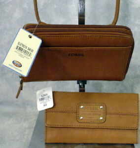 LOT OF 2--BNWT CAMEL SADDLE LEATHER CROSSBODY & WALLET BILLFOLD FULL SIZE LADIES