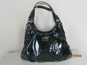 COACH Madison Maggie Patent Leather Triple Pocket Handbag Purse #1271-18760