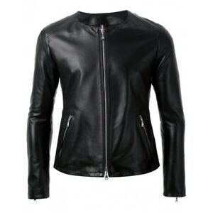 Ladies original trendy Black sheep nappa round neck biker leather jacket FWJ2