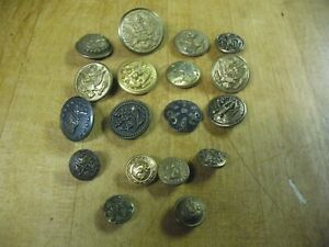 VINTAGE amp; ANTIQUE MILITARY BUTTONS 18 BRASS STEEL MIXED BRANCHES $55.00